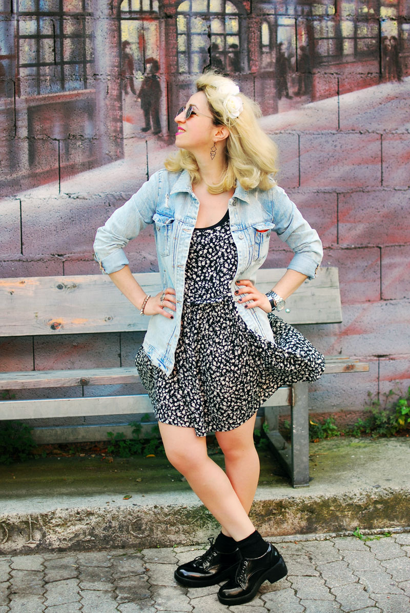 destroyed-denim-jacket-millefleurs-dress-forever21-outfit-blogger-fashion