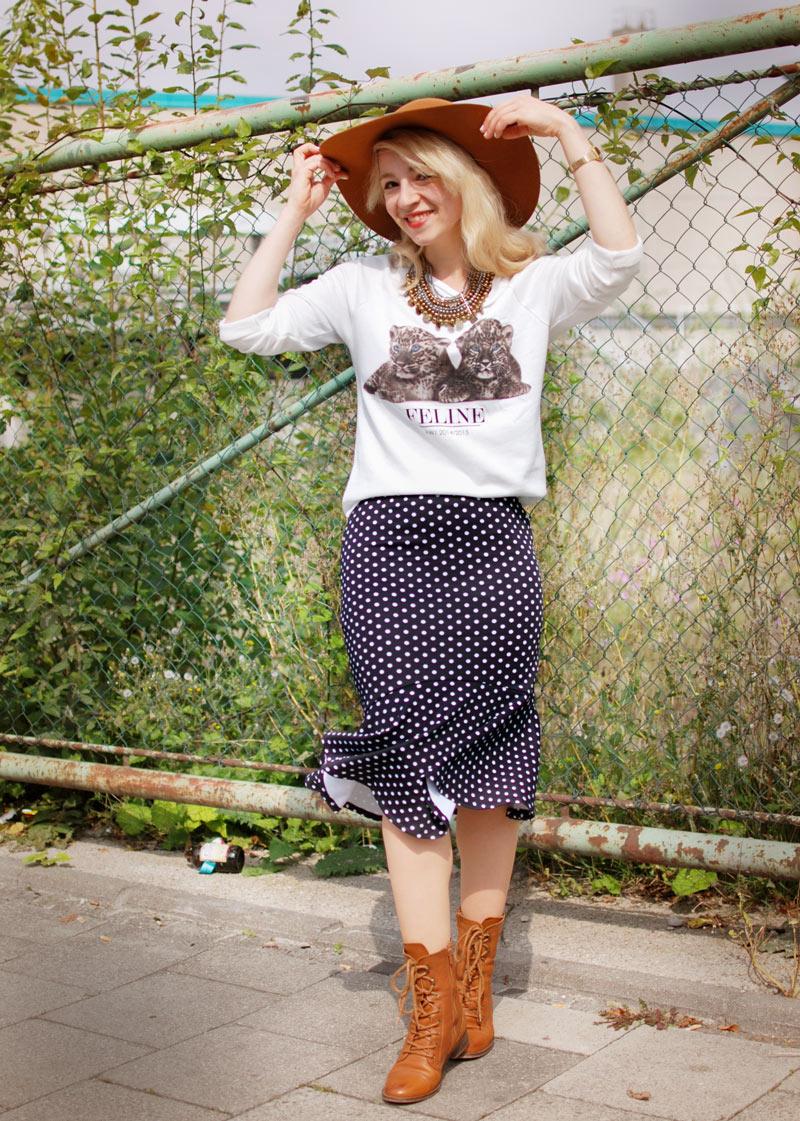 gepunkteter-rock-polka-dots-skirt-cognac-hat-schlapphut-celine-fashion-blogger-muc-nachgesternistvormorgen-2