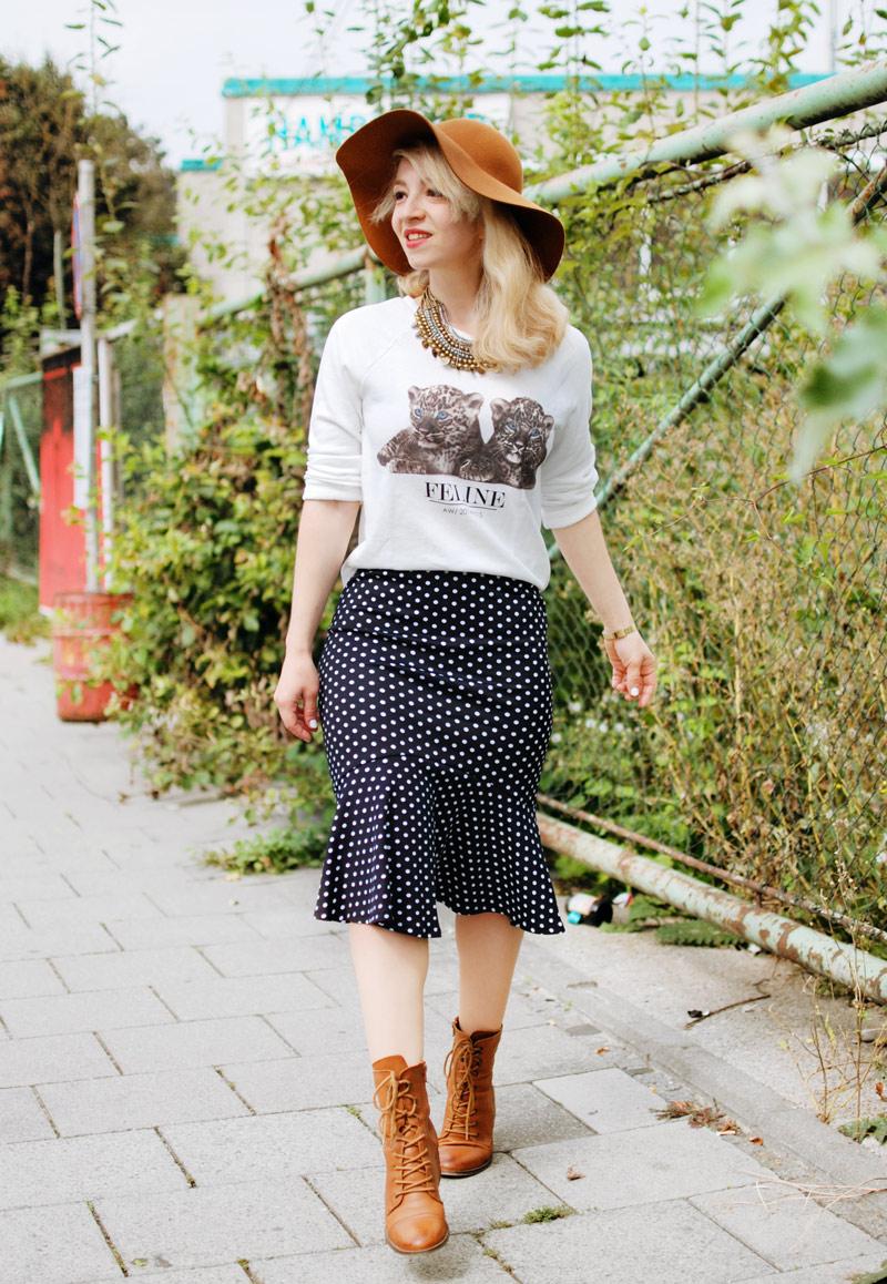 gepunkteter-rock-polka-dots-skirt-cognac-hat-schlapphut-celine-fashion-blogger-muc-nachgesternistvormorgen