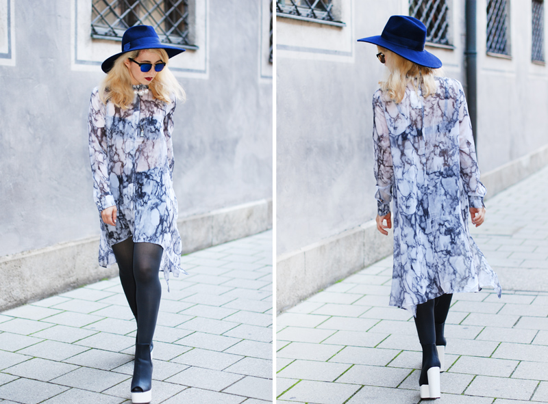 collage-chiffon-dress-asymmetric-hat-edgy-bloggerstyle-fashionblogger