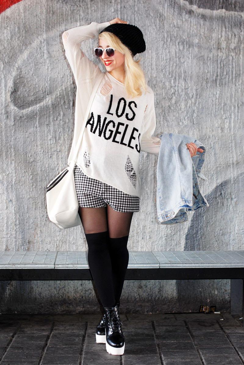 distressed-sweater-grid-shorts-kariert-monochrom-schwarz-weiß-plateau-trend-muenchen