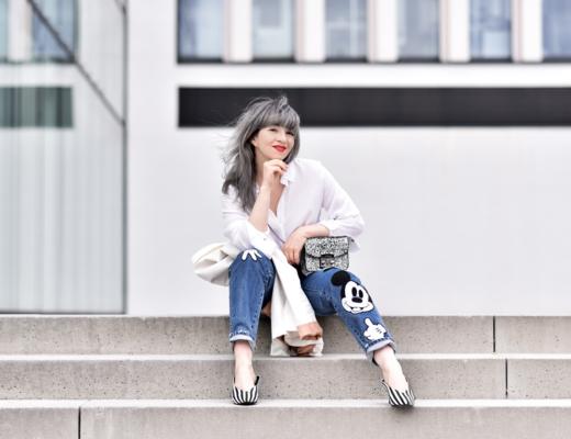 mickey, jeans, mouse, fun, süss, outfit, nachgesternistvormorgen, modeblogger, zara, fashionblogger, frühling, pumps, streifen, denim, patches