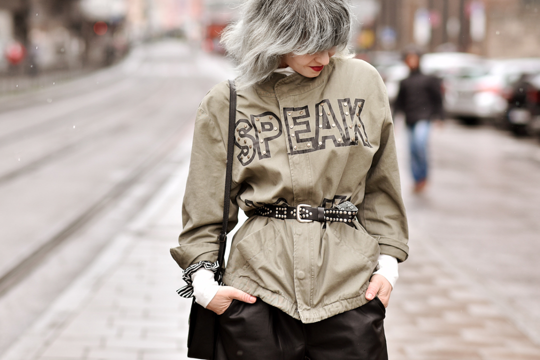 outfit, streetstyle, muenchen, fashionblogger, modeblogger, parka, culotte, silber, haare