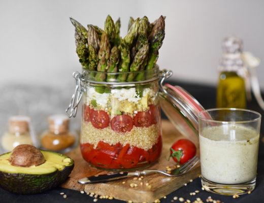 quinoa, salad, salat, im, glas, vegan, veggie, vegetarisch, rezept