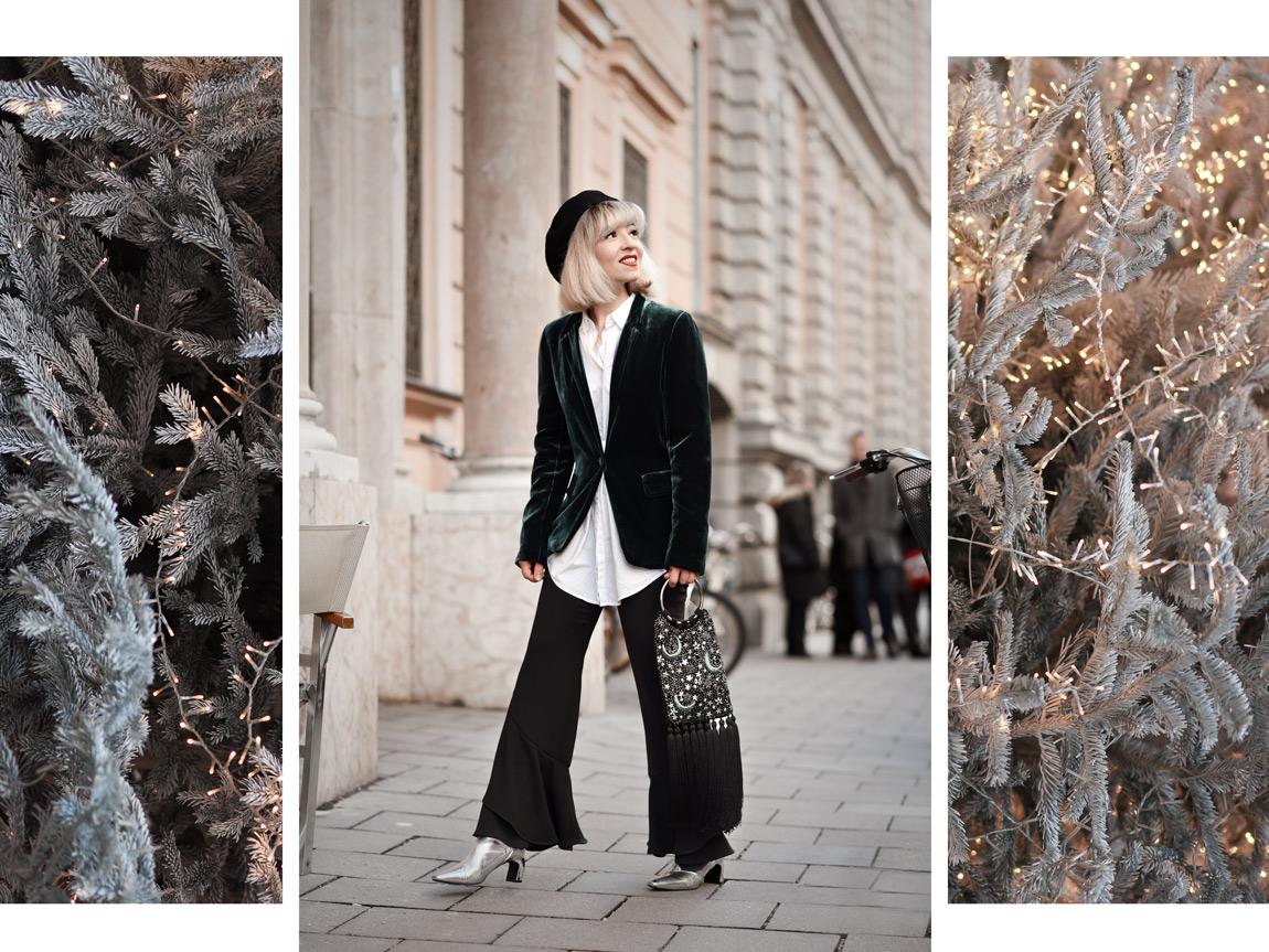 weihnachten, asos, tasche, sterneprint, festlich, outfit, samt, weihnachtsbaum, münchen, munich, blogger, fashionblog, modeblog, look, barret