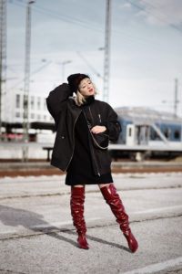 overknees, oversize, trend, rot, lackleder, zara, fashionblog, modeblog, fashionblogger, münchen, streetstyle, bomberjacke, ootd, outfit, look, schwarz, inspiration