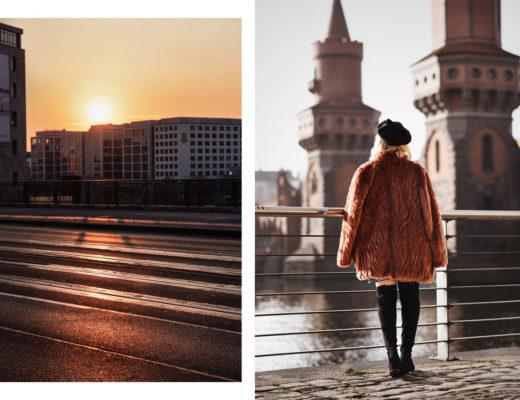 berlin, oberbaumbruecke, sonnenuntergang, sunset, friedrichshain, warschauer, strasse, portrait, blogger, lifestyle, fashionblogger, modeblog, travel, reise, hauptstadt, city, metropole