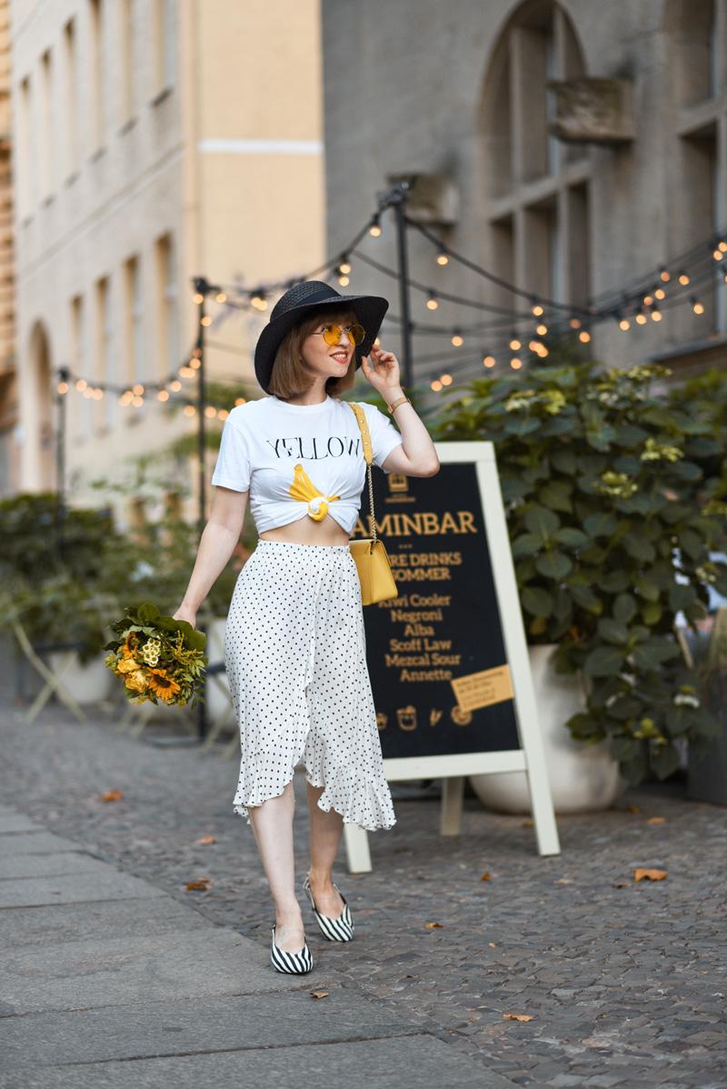 punkte, rock, midi, rüschen, berlin, fashionblog, modeblog, suess, sommer, ganni, gelb, retro, vintage