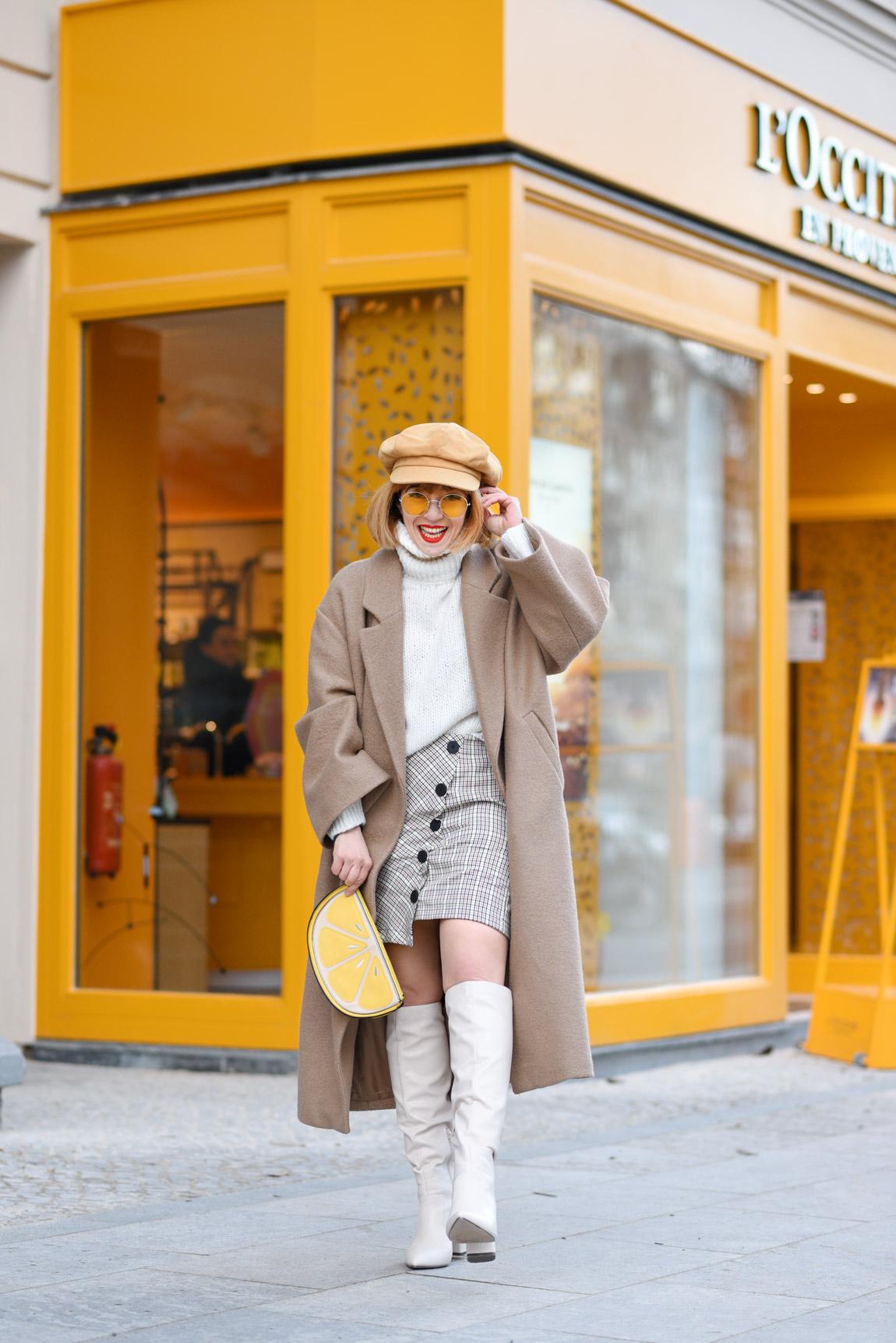 aufregen, alltag, problem, berlin, outfit, psychologie, gelb, ootd, fashionblog, modeblog, streetstyle, mini, mantel, hm, trend