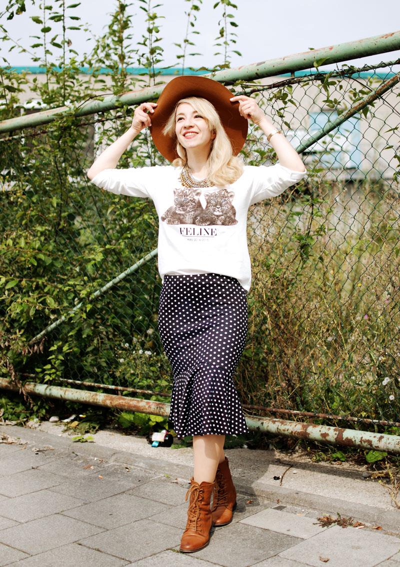gepunkteter-rock-polka-dots-skirt-cognac-hat-schlapphut-celine-fashion-blogger-muc-nachgesternistvormorgen-3