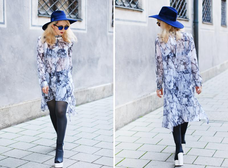 collage-chiffon-dress-asymmetric-hat-edgy-bloggerstyle-fashionblogger