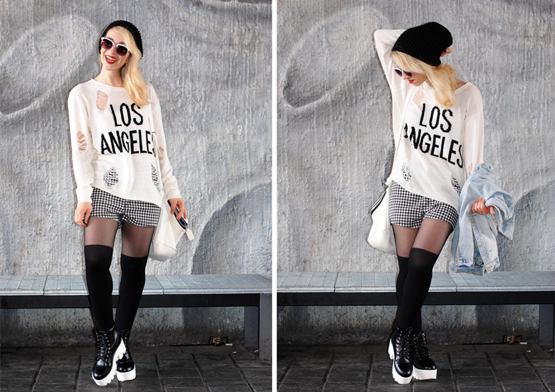 collage-distressed-knit-grid-shorts-fashionblogger-munich-monochrome-outfit