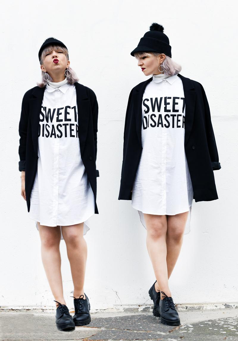 blouse-dress-monochrome-outfit-fashion-blogger-nachgesternistvormorgen-cute-edgy-look-streetstyle-collage