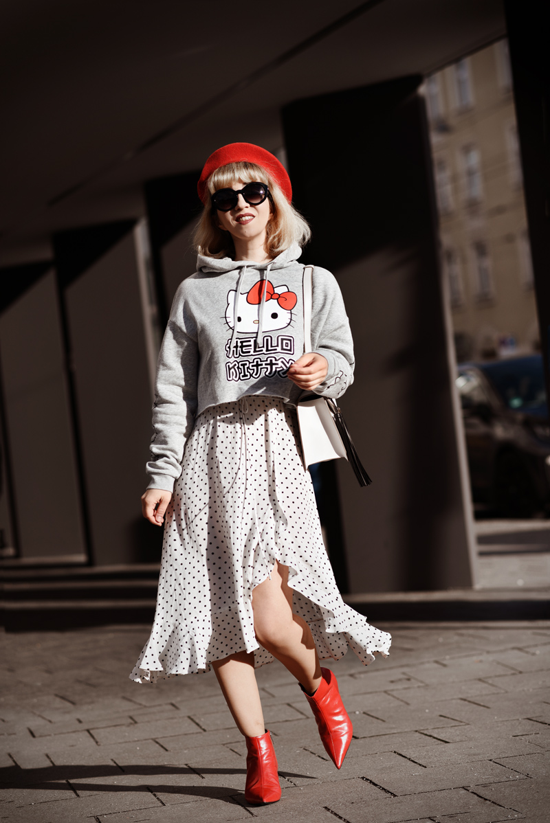 hello, kitty, polka, dots, french, mango, kleid, ootd, streetstyle, suess, cute, muenchen, fashionblogger, modeblogger, rot, barret, mütze