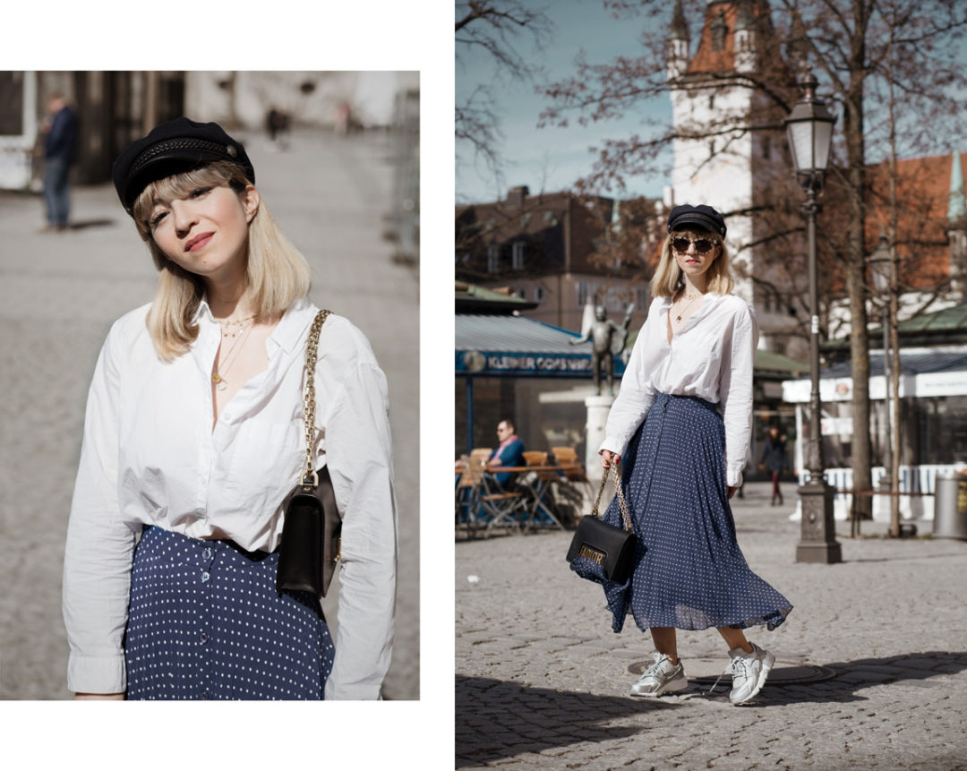 midirock, otherstories, plissee, sneakers, nike, uglysneakers, trend, streetstyle, fashionblogger, modeblog, muenchen, berlin, outfit, fruehling, blau, dior