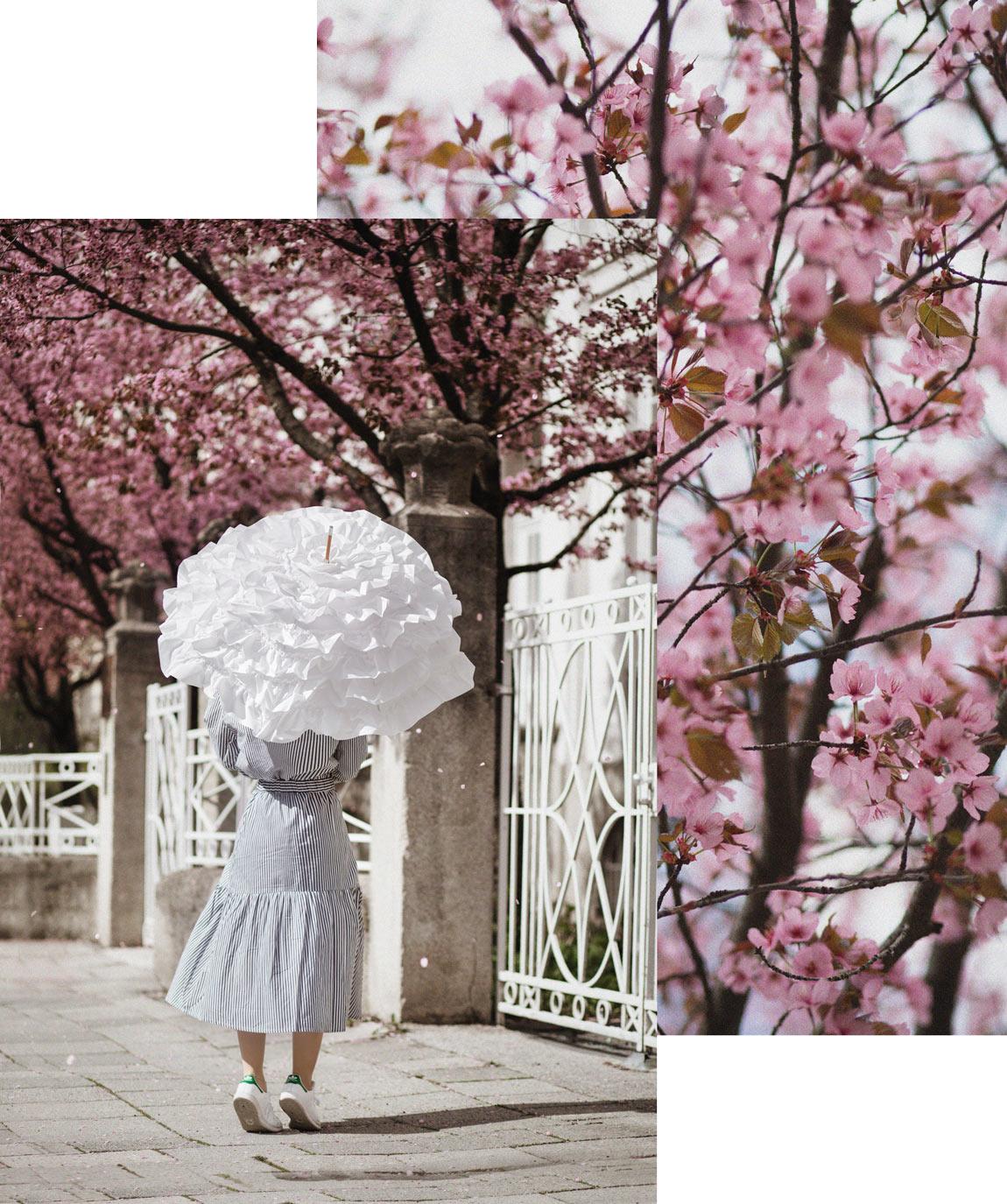 streifen, kirschblüten, zweiteiler, monki, monkistyle, midi, rock, streetstyle, romantik, muenchen, rot, barrett, fashionblogger, modeblogger, modeblog, outfit, inspiration
